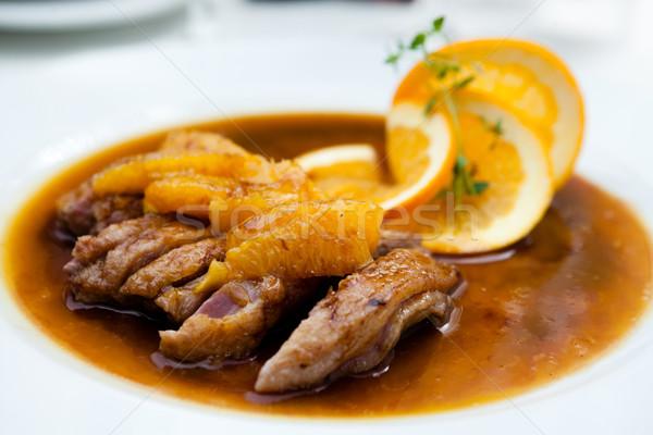 Eend filet oranje saus voedsel vogel Stockfoto © mtoome