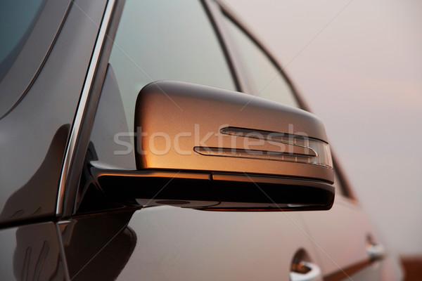 Zdjęcia stock: Samochodu · widok · z · tyłu · lustra · krajobraz · kraju
