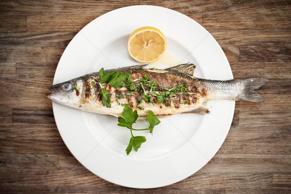 Grilled sea bass Stock photo © mtoome