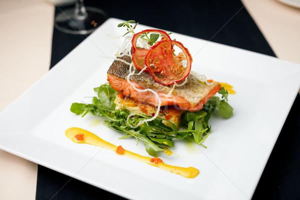 Сток-фото: лосося · краба · соус · растительное · имбирь
