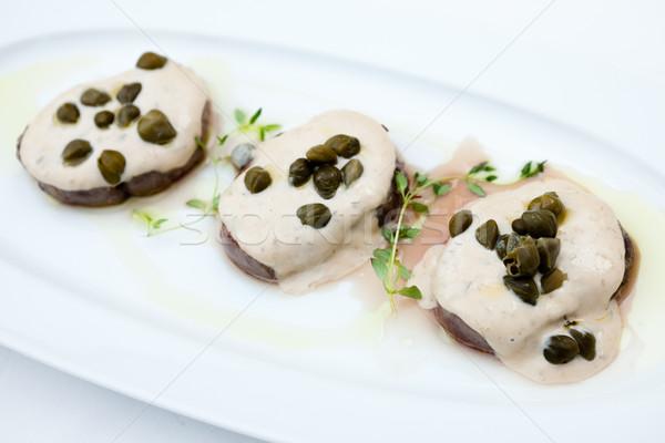 Szeletel borjúhús fedett krémes étterem zöld Stock fotó © mtoome