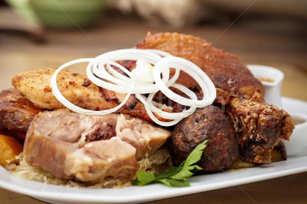 Et bayram domuz pastırması ızgara sığır eti domuz eti Stok fotoğraf © mtoome