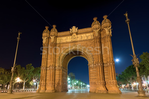 Arc de Triomf at night in Barcelona, Spain Stock photo © mtoome