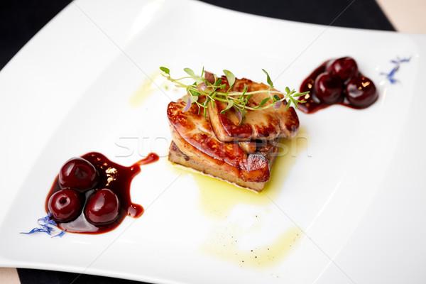 Frito cereza salsa alimentos rojo placa Foto stock © mtoome
