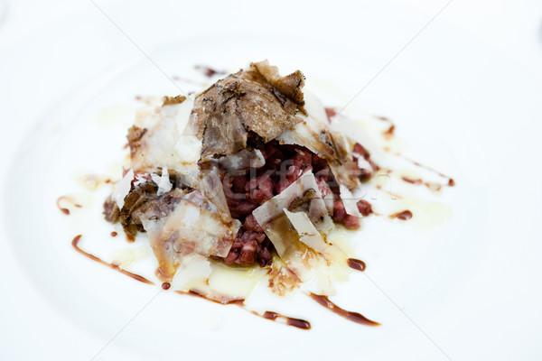 Borjúhús parmezán pelyhek balzsam öntet tojás Stock fotó © mtoome