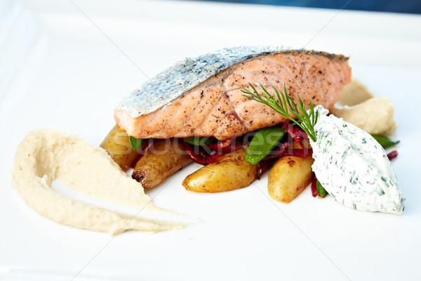 Сток-фото: лосося · цветная · капуста · кремом · миндаль