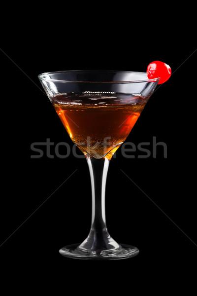 Stok fotoğraf: Elma · Manhattan · yalıtılmış · siyah · arka · plan · bar