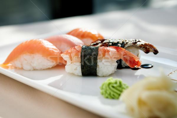 Sushi ingesteld garnalen tonijn forel paling Stockfoto © mtoome