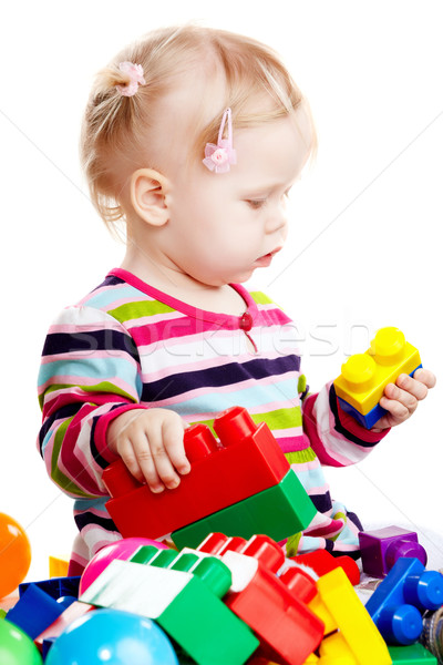 Babygirl playing with blocks Stock photo © mtoome