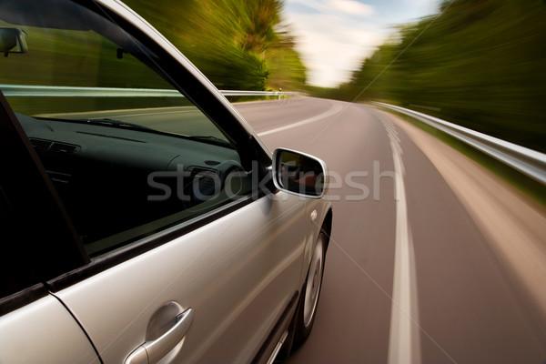 Araba sürücü hızlı ağaç yol Stok fotoğraf © mtoome