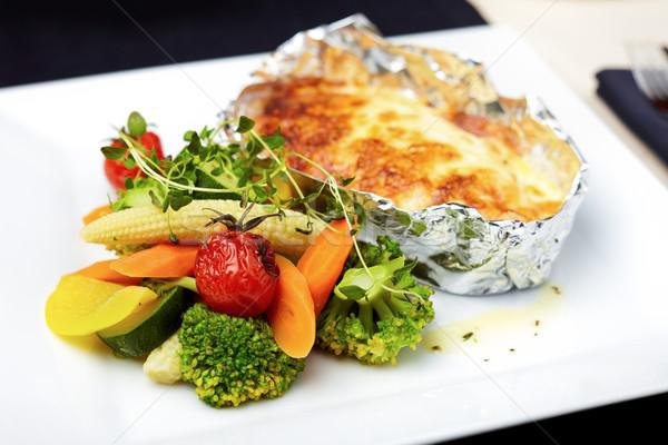 Salmón hortalizas alimentos peces verde Foto stock © mtoome