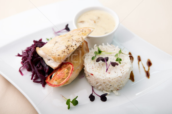 Pechuga de pollo setas salsa arroz restaurante aves Foto stock © mtoome