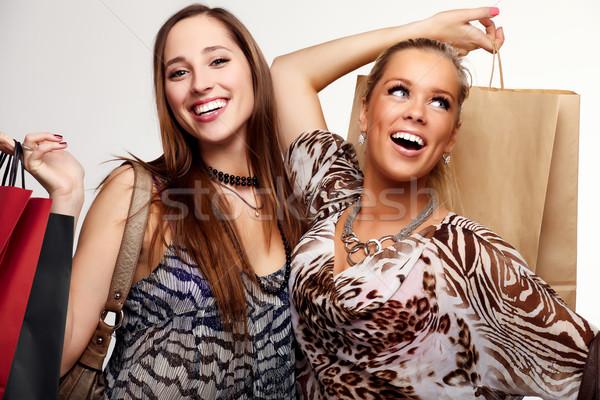 Dos feliz compras nina sonrisa Foto stock © mtoome