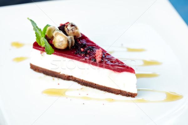 Sernik poziomka ciasto czerwony deser jeść Zdjęcia stock © mtoome