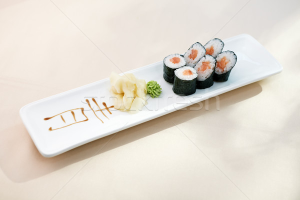 Ton balığı maki wasabi zencefil plaka gıda Stok fotoğraf © mtoome