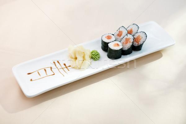 Atún maki wasabi jengibre placa alimentos Foto stock © mtoome