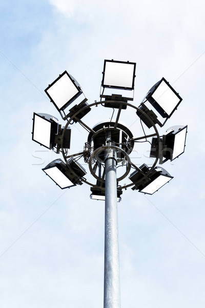 Foto stock: Estádio · luzes · luz · meio-dia · nuvens · futebol