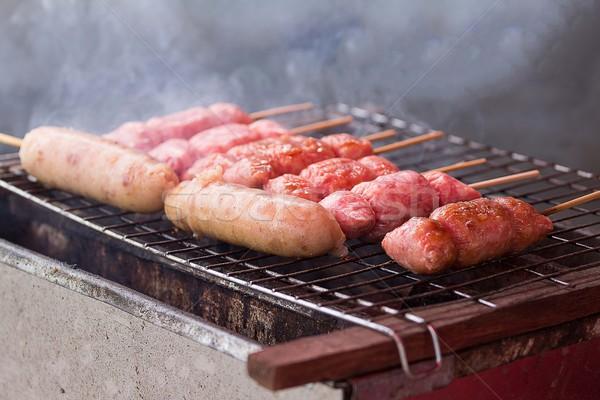 Kwaśny wieprzowina grillowany rynku mięsa asian Zdjęcia stock © muang_satun