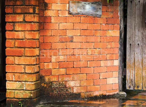 Tuğla duvar ev tuğla duvarlar boya kırmızı Stok fotoğraf © muang_satun