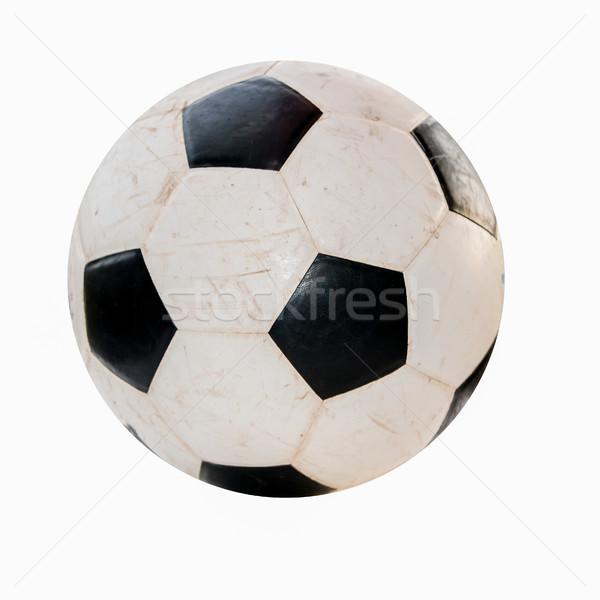 Siyah beyaz futbol topu eski beyaz futbol spor Stok fotoğraf © muang_satun