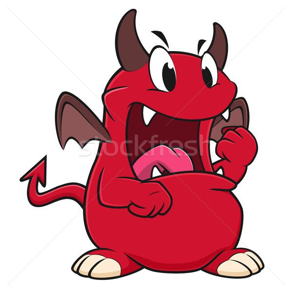 Cartoon enojado diablo rojo dibujo mal Foto stock © mumut