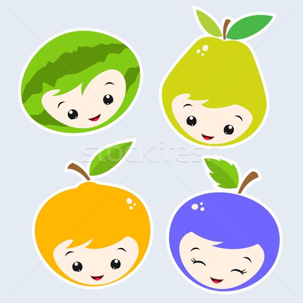 Cartoon frutas cute frutas caras Foto stock © mumut