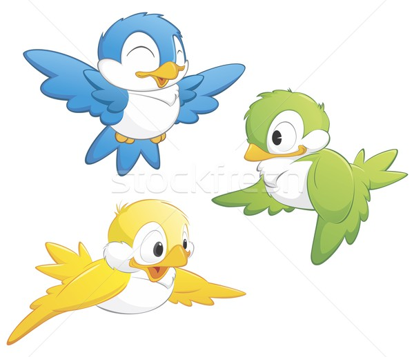 Cute cartoon oiseaux trois isolé Photo stock © mumut