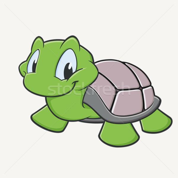 Cute tortuga sonriendo Cartoon sonrisa verde Foto stock © mumut