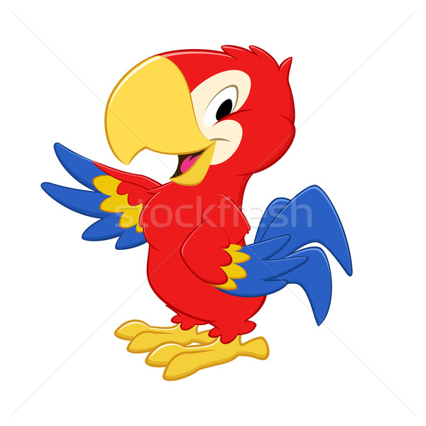Cartoon pappagallo uccello blu sorridere Foto d'archivio © mumut