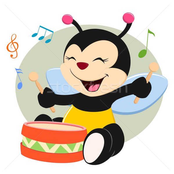 Baby Bee Playing Drum Stock photo © mumut