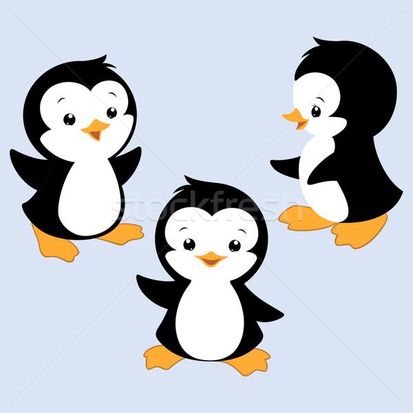 Cartoon pinguino tre baby bambini Foto d'archivio © mumut