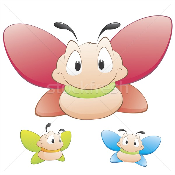 Cartoon mariposas tres vector objetos aislados Foto stock © mumut
