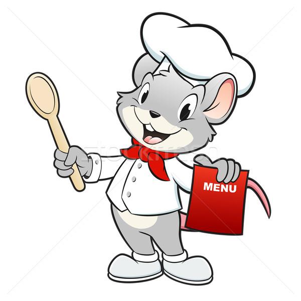 Cartoon chef ratón cuchara de madera ninos Foto stock © mumut