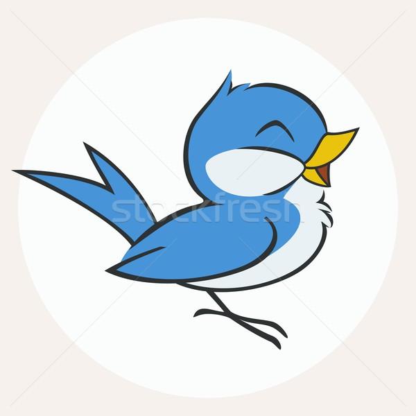 Foto d'archivio: Piccolo · blu · uccello · vettore · cartoon · illustrazione