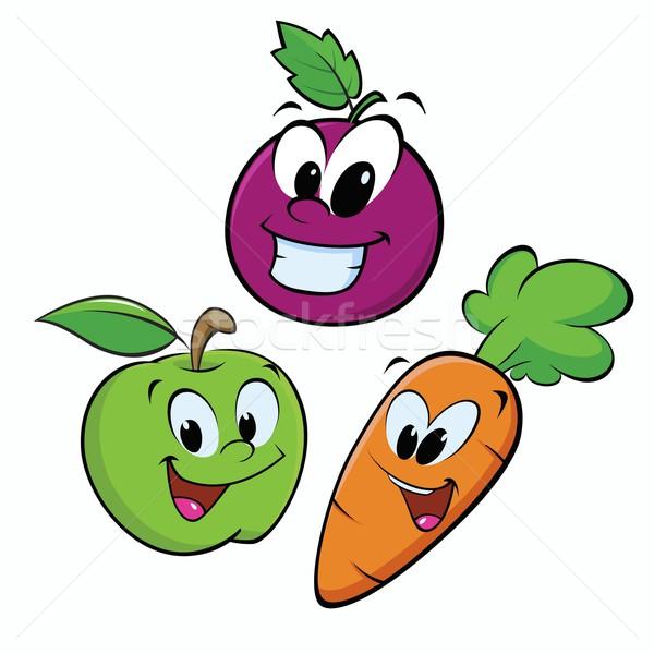 maçã uva cenoura desenho animado frutas objetos
