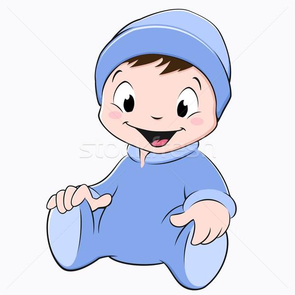 Cartoon bebé sesión azul nino Foto stock © mumut