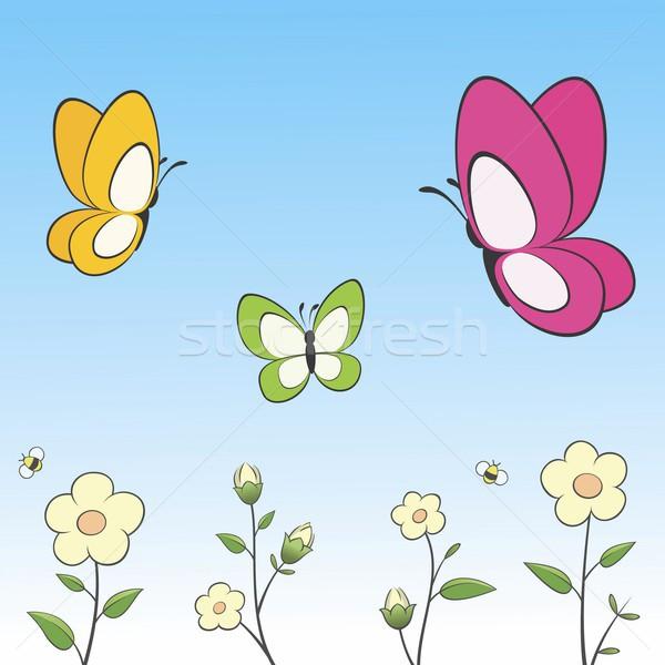 Cartoon farfalle fiori facile bambini Foto d'archivio © mumut
