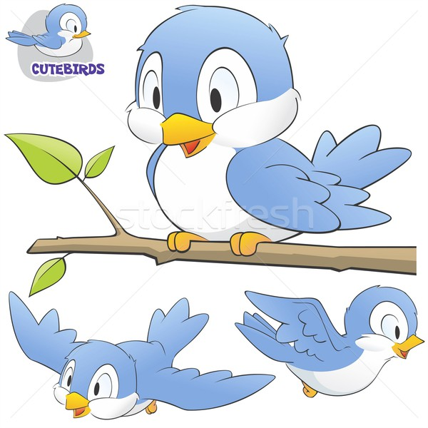 Set cute cartoon uccelli facile Foto d'archivio © mumut