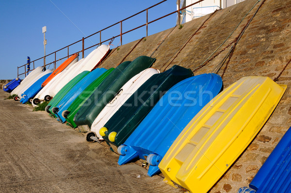 Small Boats against a wall in France Stock photo © Musat