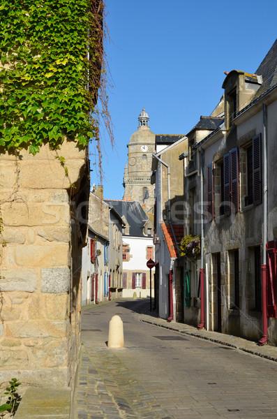 Steegje Frankrijk typisch straat toren bel Stockfoto © Musat