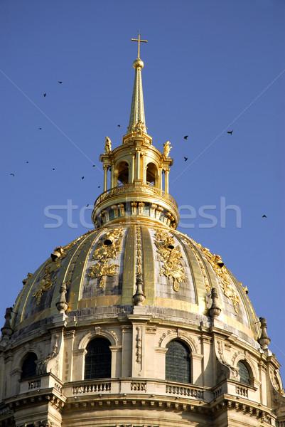 Koepel kerk Parijs vogels blauwe hemel Stockfoto © Musat