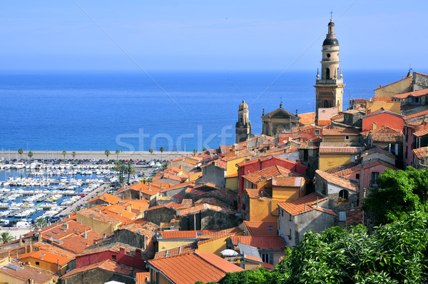 Roofs and Basilica at Menton in France Stock photo © Musat