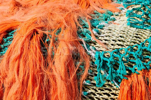 Balık tutma doku deniz arka plan turuncu mavi Stok fotoğraf © Musat