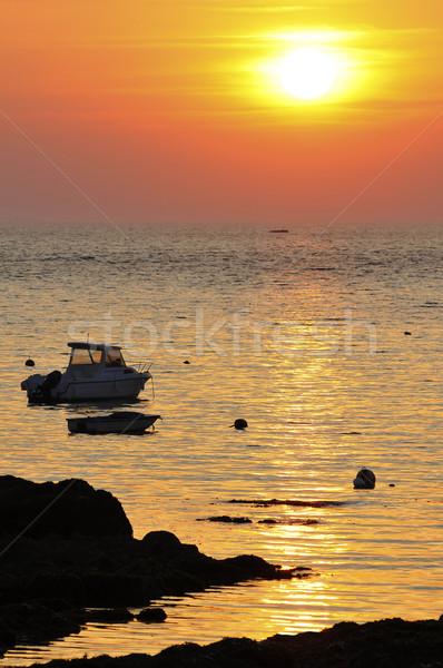 Zonsondergang oceaan zee boten schiereiland afdeling Stockfoto © Musat
