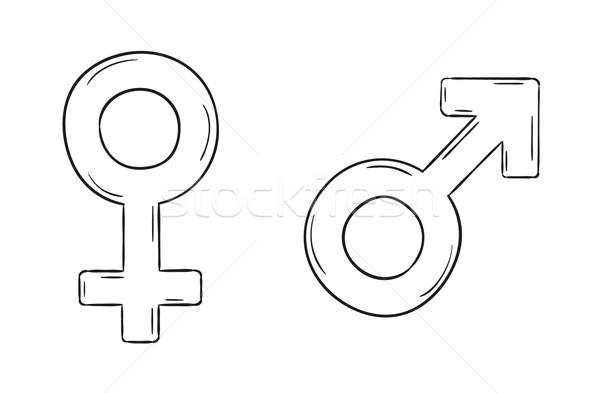 Masculino feminino símbolos esboço isolado menina Foto stock © muuraa