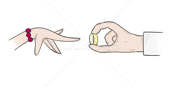 Casamento proposta anel dois mãos mão Foto stock © muuraa