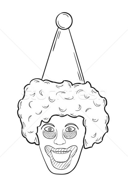Kafa palyaço kroki beyaz yalıtılmış gülümseme Stok fotoğraf © muuraa