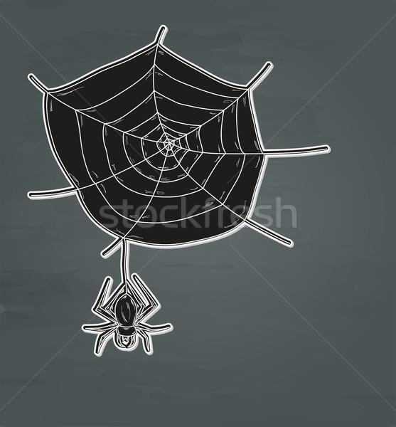 Pókháló pók vektor sötét természet háttér Stock fotó © muuraa