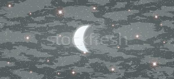 Lune étoiles brillant beaucoup brouillard Photo stock © muuraa