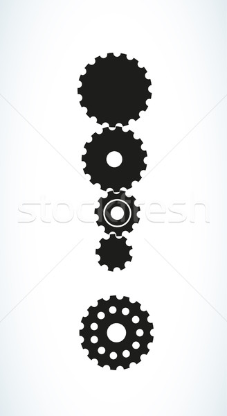 exclamation mark created from cog wheels Stock photo © muuraa